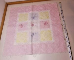 Scrap Fabric 13quot; x 13quot; Quilting Square Pastel Lace Flowers Pink Yellow Blue $3.99