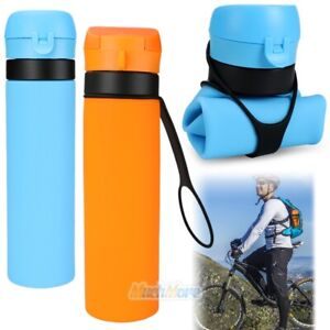 Foldable 650ml Silicone Water Bottle Gym Camping Travel Drinking Collapsible Cup