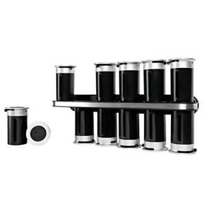 Spice Rack 12-Canister Wall-Mount Zero Gravity Black Silver Countertop Tabletop