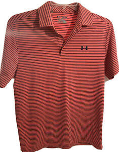 UNDER ARMOUR HEAT GEAR LOOSE Men's Polyester Golf Polo Shirt Orange Size Med $16.00