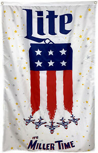 Miller Lite Flag It's Time Milwaukee Brewing American 3x5 ft Banner