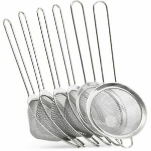 6pc 3quot;x8.3quot; Stainless Steel Sieve Fine Mesh Strainer Skimmer Spoon for Pasta Tea