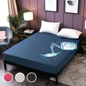 Solid Color Waterproof Mattress Protector Cover Fitted Sheet Bed Wetting AllSize