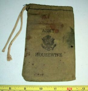Vintage Army Housewife Miniature Duffle Bag with Signal Mirror? Military $19.99
