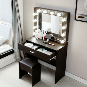 Vanity Set Makeup Dressing Table Desk For Bedroom 12 Led Light Hollywood Mirror