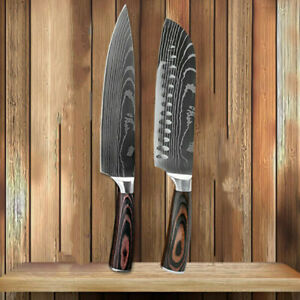 2Pcs Kitchen Knife Set High Carbon Stainless Steel Japanese Damascus Style Knife