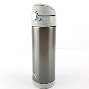 Thermos 16oz FUNtainer NEW Water Bottle Up To 12 Hours Cold Gray Metallic