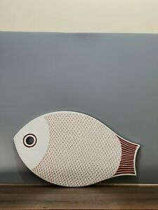Vintage Cutting Board Fish Ceramic  Cheese Server Serving 7 3/8'' ~12.25''