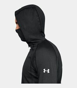 Men's Under Armour Microthread Swyft Built in Facemask Hoodie Black Size Large $34.99