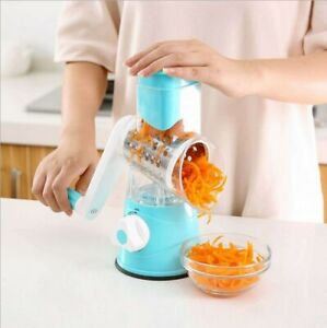 3 In 1 Multifunctional Round Slicer Manual Vegetable Cutter grater New [Blue]