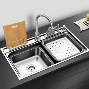 Washing Kitchen Sink Brushed Stainless Steel With Cutting Board Rack Bowl Faucet
