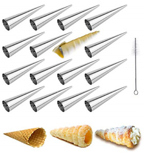 16 Pack Cream Horn Molds Cannoli Tubes Ice Cream Mold Stainless Steel Lady Lock