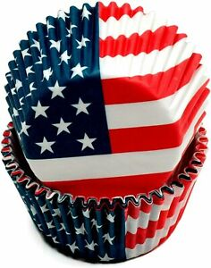 Chef Craft cupcake liners.  Fourth of July American flag cupcake papers.  50 pcs