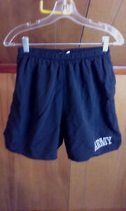 ARMY ISSUED Mens Running Shorts XL Black stretch Lined $11.97