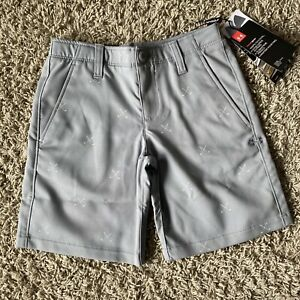 Under Armour Shorts Boys Size 7 Gray Flat Front Golf Club Pattern NWT $29.99