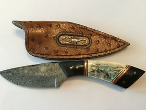 Pike Custom Knives Damascus Scrimshaw Dolphin Fixed Blade Knife