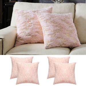 1/2pcs 18x18in Fur Fluffy Sequin Pillow Case Cover Couch Waist Cushion Covers