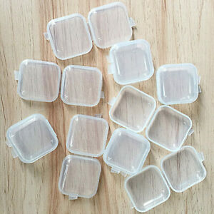 50 x Mini Clear Plastic Small Box Hook Jewelry Earing Earplugs Container $11.79