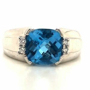Diamond Designs 14KT White Gold Checkerboard Cushion Cut Blue Topaz and Diamond