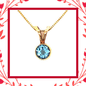 "Diamond Designs 14 Karat Yellow Gold Blue Topaz Pendant on 18"" Rolo Chain"