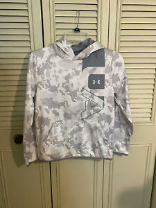 Under Armour Boys' Armour Fleece Printed Big Logo Hoodie White Gray Size L YLG $17.99