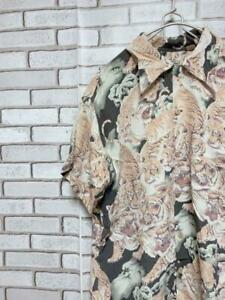 SUN SURF Hawaiian Aloha Shirt Tigers Design Size-M Used from Japan FS