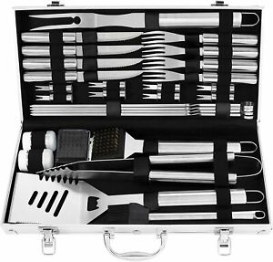 grilljoy 29PC BBQ Accessories Kit with Case - Stainless Steel Grill Set