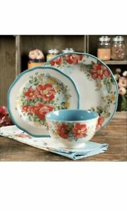 Pioneer Woman 12 Piece Dinnerware Set Vintage Floral Plates New Fast USPS Ship