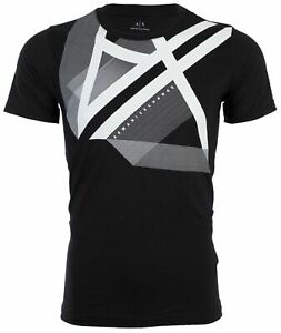 Armani Exchange Mens S S T Shirt RIGHT SIDE UP Designer BLACK Casual S 2XL $45