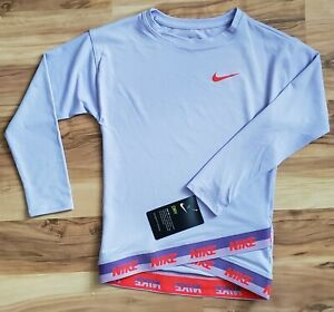 Nike Girls 4 Dry Fit Lavender Long Sleeve Shirt With Elastic Band $34.00 $15.50