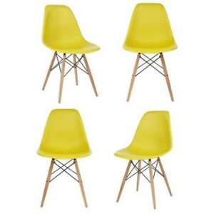 Yellow Plastic Dining Shell Chair (Set of 4) Yellow Modern & Contemporary