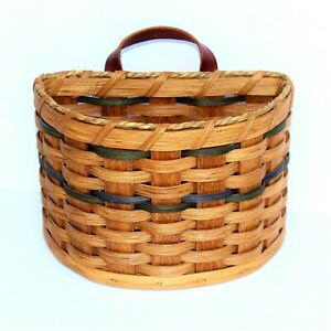 Amish Handmade Basket Wall Pocket Signed Blue Green Brown Weave Leather Handle $24.99