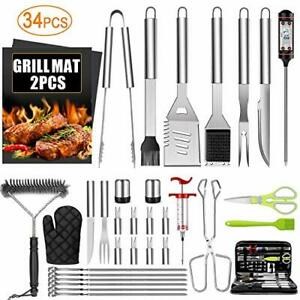 Grilling Accessories BBQ Grill Tools Set 34PCS Stainless Steel Grill Tool Kit