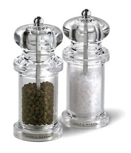 COLE & MASON 505 Salt and Pepper Grinder Set - Clear Acrylic Mills Includes P...