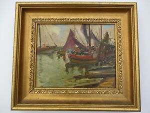 WILLIAM TODD BROWN OIL PAINTING REGIONALISM COASTAL NAUTICAL SHIPS BOATS ANTIQUE $1,300.00