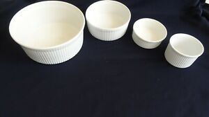 APILCO PILLIVUYT Assorted French Porcelain RIBBED Souffle Bakeware Oven 4 Pieces