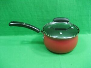 be Basic Essentials 2 Quart Saucepan with Lid Non-Stick ~ Red-Black ~ New
