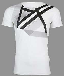 Armani Exchange Mens S S T Shirt RIGHT SIDE UP Designer WHITE Casual S 2XL $45