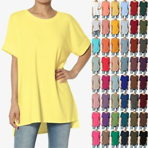 TheMogan S XL Casual Round Neck Rolled Short Sleeve Loose fit Tunic Top Tee