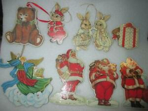 9 Vintage Christmas Ornaments Merrimack Publishing Double Sided Thick Cardboard