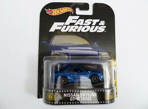 Hot Wheels Fast and Furious Premium Nissan Skyline GT R Blue