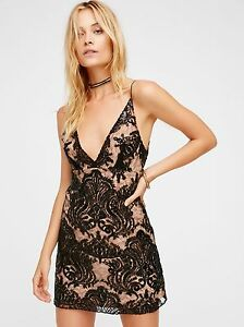 NWT FREE PEOPLE NIGHT SHIMMERS BOHO CHIC SEQUINS MINI DRESS SIZE 12 L LARGE $108