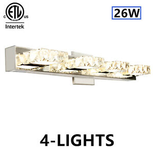 Modern 4-Light Bathroom Vanity Light LED Crystal Mirror Front Make-up Wall Lamp