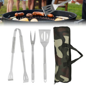 3X BBQ Tool Set Stainless Steel Cooking Barbecue Tongs Fork Spatula US STOCK NEW