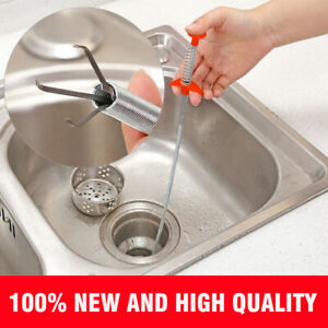 60cm Kitchen Sewer Dredging Device Tools Spring Pipe Sink Cleaning Hook US $7.89