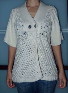 Small DESIGN HISTORY Ivory Open Knit Button Front Cardigan Sweater