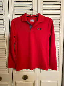 Under Armour Heat Gear Loose Fit Red Long Sleeve Polo Shirt Youth Boys Sz M YMD $12.99