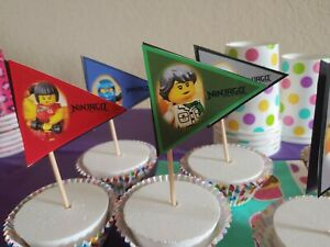 Ninjago pennant flag, cupcake topper,food topper,fruit toppers,24 pieces