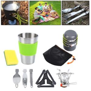 10pcs Camping Cookware Kit Cook Set Portable Stove Pots Tableware Hiking Picnic