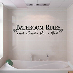BATHROOM RULES Quote BathRoom Wall Decals Stickers Vinyl Art Home DIY Decor US
